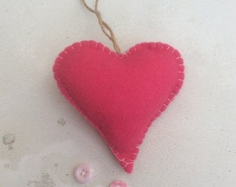 Hanging felt hearts
