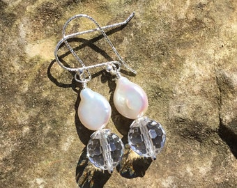 Swarovski and Coin Pearl Earrings