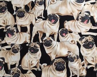 Timeless Treasures Pugs Fabric 100% Cotton Quilting Patchwork Black Pug Dog Pet
