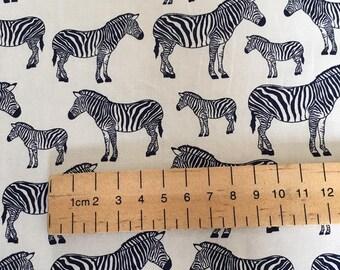 Navy Zebra Fabric 100% Cotton Navy Blue