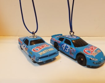 Pair of Vintage Nascar #43 Chex Party mix 1970 Plymouth Barracuda  Ornament / Fan pull   Ornament loop included