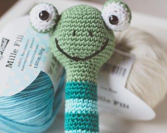 Crochet frog, frog, Baby Rattle