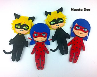 x 2 plush Ladybug and Cat Noir / Chat Noir of Miraculous Ladybug - Plush