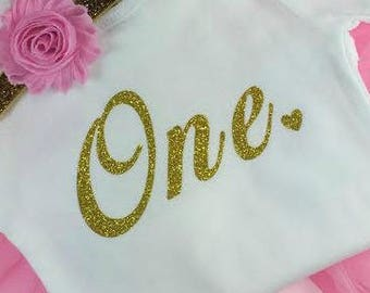 1st Birthday Girl IRON ON Transfer Decal Heat Transfer Gold Glitter One Heart Birthday Party Iron On