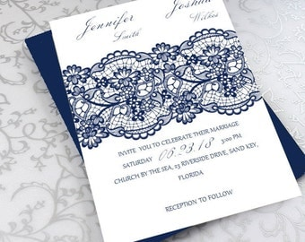 Navy Blue Lace Invitation Template - Double-Sided Invite - Printable Wedding Invitations - Word and Pages-download instantly| VRD124AAN