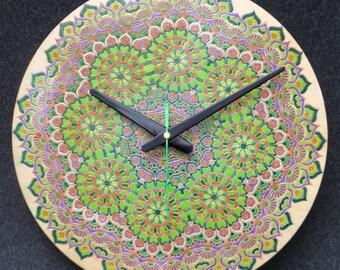 Hand Painted Wall Clock, Modern Clock, Home Decor, Unique Wall Clock, Colourfull Wall Clock