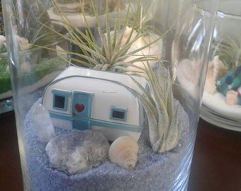 Air Plant Terrarium - With Miniature Camper Trailer and Two Air Plants