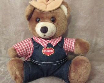 Vintage Dakin Del Monte Plush Bear - Yumkin Brawny Bear - 1985 - Promotional Plush