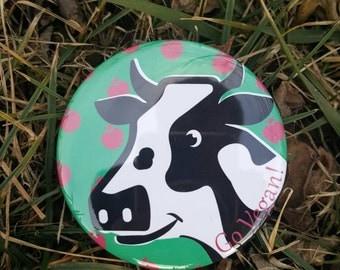 Go Vegan Happy Cow Pin