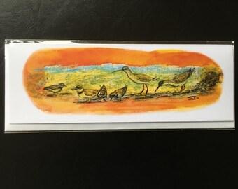 Bird art greetings card from original drawing of wading birds.