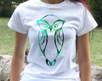 Colorful Owl Tee - Bird T-shirt - Fashion women's apparel - Colorful printed tee - Gift Idea