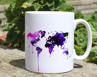 Continental map mug - Map mug - Colorful printed mug - Tee mug - Coffee Mug - Gift Idea
