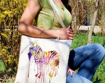 Zebra tote bag -  Animal shoulder bag - Fashion canvas bag - Colorful printed market bag - Gift Idea