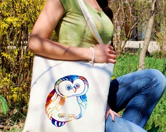 Owl tote bag -  Owl shoulder bag - Fashion canvas bag - Colorful printed market bag - Gift Idea