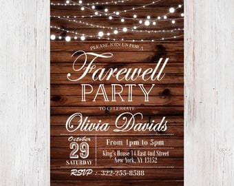 Farewell Invitation, Rustic Farewell Invitation, Farewell Party Invitation, Rustic Farewell Party Invitation 189