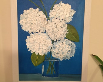Beautiful textured acrylic painting of white and blue hydrangeas.
