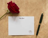 Rose personalized gold foil press stationery set of 10 with envelopes
