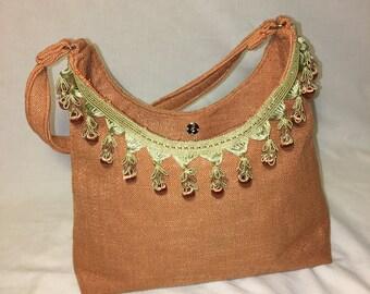 Coral Linen Purse Handbag with Trim