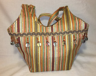 Colorful Spring Striped Shoulder Bag with Beautiful Beaded Trim