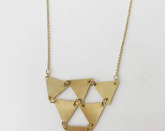 Gold Triangle Link Necklace