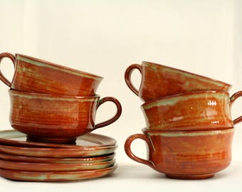 Vallauris coffee cups – 5 coffee cups and saucers – earthenware – brown and turquoise