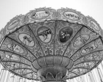 8x10 Black and White print of a Swing Carousel taken in Santa Cruz California