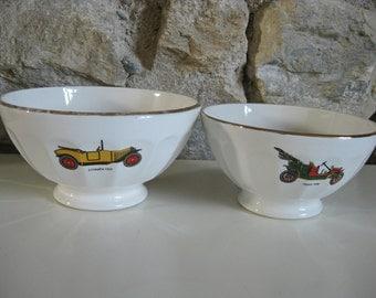 Cafe au lait bowls with vintage French car patterns