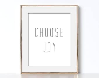 Choose Joy Printable Digital Download Black and White Prints Choose Joy Print Bedroom Wall Decor Bedroom Art Black and White Printable Art