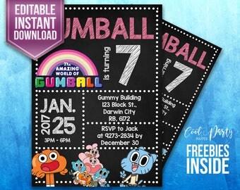 Gumball invitation, Gumball Party, Gumball birthday invitation, Gumball instant download, Gumball invite, Gumball DIY, Gumball