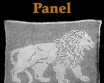 Lion Lace Panel Filet Crochet Pattern