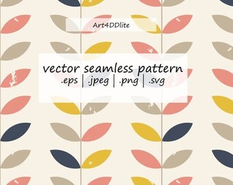 Scandinavian Seamless Pattern in Retro Pastel Colors , eps png jpeg svg, Digital  Paper, Vector background, commercial use
