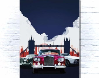 Classic cars and London skyline canvas -Canvas Dad,Granddad,Brother,Friend,Husband who loves cars.