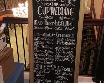 Wedding VIP Custom Chalk Board