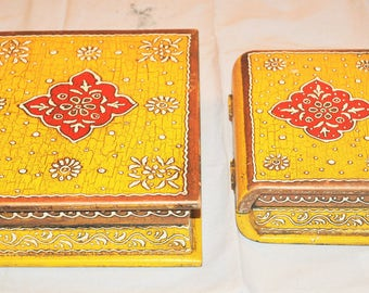 Bundles of 2 boxes of model storage book yellow wood