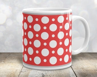 Red Polka Dot Mug - Stylish White Red Polka Dot Pattern - 11oz or 15oz