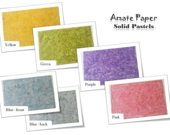 Handcrafted AMATE PAPER – SOLID Pattern – Pastels – 24in x 16in - - - Papel Amate – Liso – Colores Pastel - 60cm x 40cm