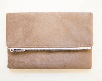 Suede Handbags, bag soft brown / ipad case / small bag/makeup/gift for women / tablet/synthetic bag