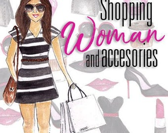 Shopping woman clip art set. Shopping woman watercolor clipart. Clip art for planner stickers. Commercial use. PNG Files.