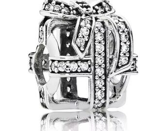 New Pandora Silver All Wrapped up Clear Charm Present Gift 791766cz