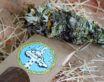 Chaga mushroom tea and Smudge stick incense, inonotus obliquus, Aromatic herbs, Ritual bundle, Nature cleansing incense, Wiccan altar smudge