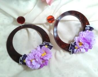 Flamenco earrings, pink flowers earrings, party earrings, Spanish dance, guest earrings, Mother's Day