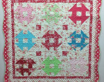 Shabby Chic Churn Dash Baby Quilt/Wall Hanging