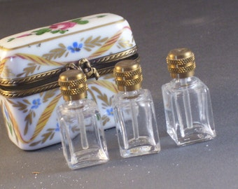 Limoges Perfume Box with Three Bottles