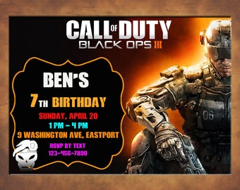 Call Of Duty Invitation, You Print Invitation, Call Of Duty Birthday, Call Of Duty Themed Invitation, Call Of Duty Birthday Party Invite