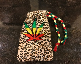 Leopard Rasta Stash Bag