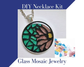 Make Your Own Mosaic Necklace Kit, Jewelry Making Kit Glass Mosaic Necklace Activity, Silver Circle Pendant, Spring Colors DIY Craft Kit