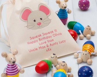 Childrens Mice Skittles And Personalised Bag
