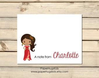 Princess stationery, Princess Note Cards, Kids Thank You Cards, Personalized Stationery, Kids Note Cards, Elena Avalor / Digital File