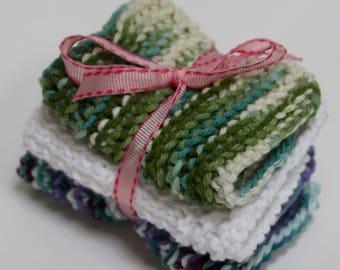Knit Dish Cloths, Green & Blue Multi