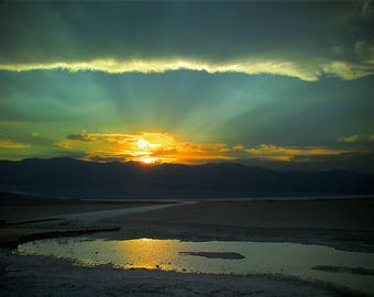 Badwater Basin Sunset, Death Valley National Park, USA,  - Canvas Gallery Wrap